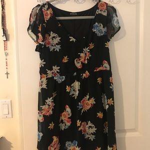black and floral flowy skater dress